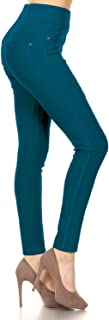 Leggings Depot Premium Quality Jeggings Regular and Plus Soft Cotton Blend Stretch Jean Leggings Pants w/Pockets