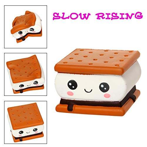 TEEGOMO Chocolate Smores Biscuit Food Kawaii Slow Rising Scented Squishy Toy Stress Relief for Kids and Adults.