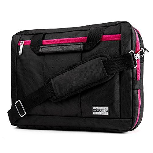 VanGoddy El Prado 3-in-1 Messenger + Backpack + Briefcase Transformer for 15 to 16 inch Laptops and Tablets - Black/Magenta
