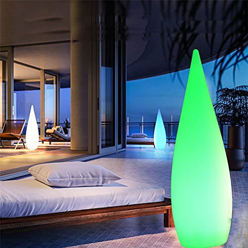 RGB Außenstehleuchte LED Standleuchte, Stehlampe Restaurant Außen Dimmbar Mit Fernbedienung Kreatives Wassertropfen-Design, Stehleuchte Garten Farbe Stimmungslicht Wasserdicht,Solar charging,120CM