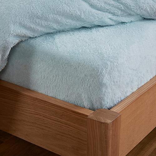 Brentfords Teddy-Fleece-Spannbettlaken Thermo-warm weich flauschig kuschelig Bettwäsche Duck Egg, 100% Polyester, Sherpa, King Size