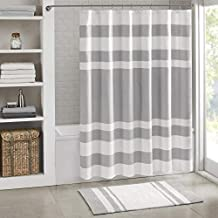 Madison Park Spa Waffle Shower Curtain Pieced Solid Microfiber Fabric with 3M Scotchgard Water Repellent Treatment Modern Home Bathroom Decorations, Standard 72X72, Grey