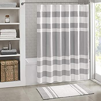 Madison Park Spa Waffle Shower Curtain Pieced Solid Microfiber Fabric with 3M Scotchgard Water Repellent Treatment Modern Home Bathroom Decorations Standard 72X72 Grey