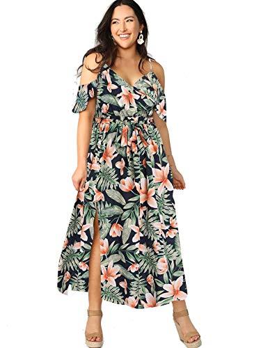 Milumia Women Plus Size Cold Shoulder Floral Maxi Bohemian Split Dress Multicolored Floral XX-Large Plus