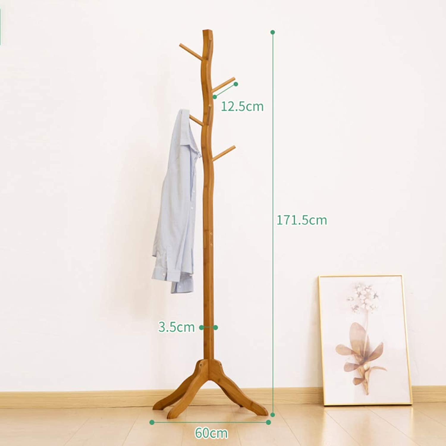 Tree Coat Rack, Free Standing Coat and hat Rack with 4 Tiers 8 Hooks Entryway Hall Clothes Hook Display Stand-A