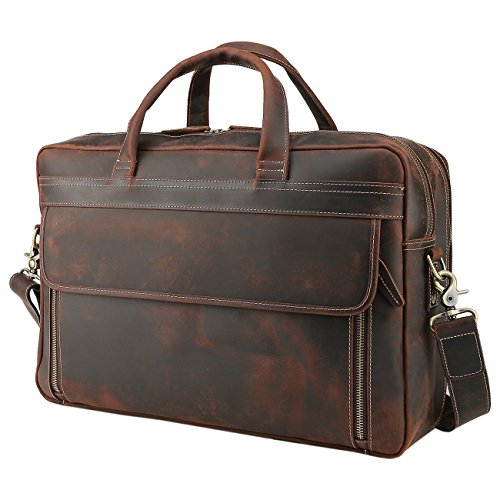Polare Men's Full Grain Leather Professional 17'' Briefcase Shoulder Messenger Business Bag with YKK Metal Zippers
