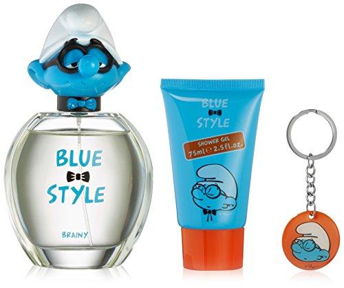 First American Brands Blue Style Brainy 3D - Die Schlümpfe Schlaubi 100ml Eau de Toilette + 75ml Duschgel + Schlüsselanhänger Geschenkset für Kinder, 1er Pack (1 x 100 ml)