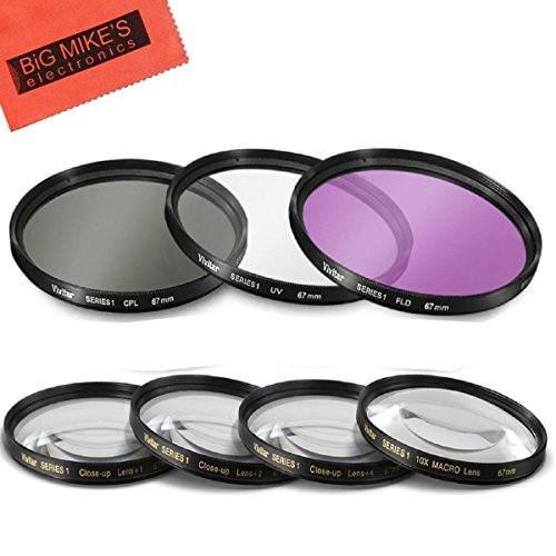 67mm 7PC Filter Set for Canon Rebel T6i, T6s, T7i, EOS 80D, EOS 77D Cameras with Canon EF-S 18-135mm is STM Lens - Includes 3 PC Filter Kit (UV-CPL-FLD) and 4PC Close Up Filter Set (+1+2+4+10)