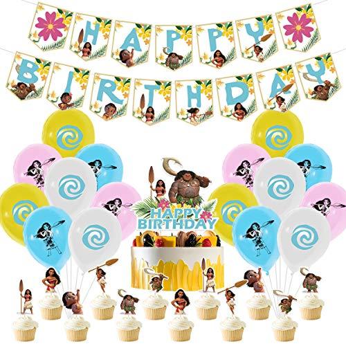 YUESEN Moana Decoración Globos de Fiesta Látex Balloons Happy Birthday Banner Cake Topper Suministros de Fiesta Decoración Cumpleaños de Moana para Niños 30 Piezas 🔥