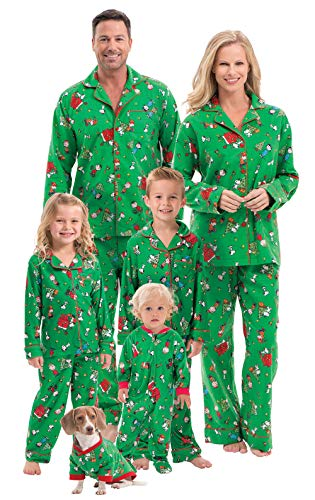 PajamaGram Family Christmas Pajamas Soft - Charlie Brown, Green, Pets, XS
