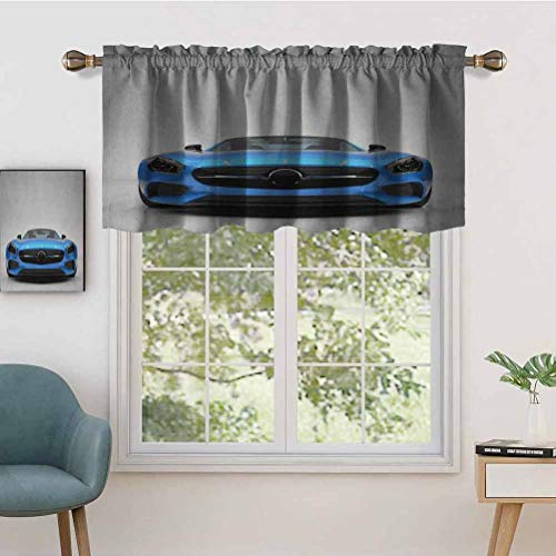 Hiiiman Indoor Home Curtain Valance Panel Modern Blue Sports Car Power Prestige Speed Fast Vehicle Automobile, Set of 2, 42'x24' for Bathroom and Cafe