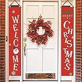 Yuson Girl Natale Banner Portico Segno Door 2 Pezzi Decorazioni di Natale Outdoor Indoor Decorazione di Benvenuto Buon per Porta di Natale Decor Rosso