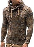 MAXMODA - Sudadera para hombre con capucha, corte ajustado, sudadera con capucha para hombre Jersey marrón. XL