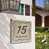 Numero Civico Personalizzato su Mattonella Botticino lucida o opaca e su Mattonella in ceramica, misura: 15x15cm