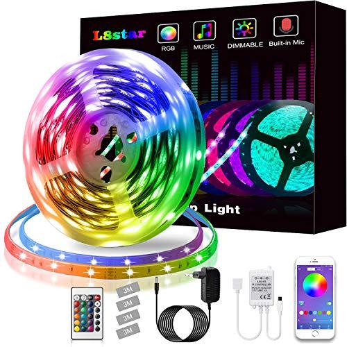 LED Strip, L8star LED Streifen Farbwechsel LED Strip Lichtband RGB Flexible LED Bänder Strips mit Bluetooth Kontroller Sync zur Musik, Anwendung für Schlafzimmer, Party und Feriendekoration (5M)