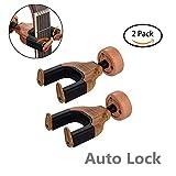 Soporte de pared para guitarra,Guitar Wall Hanger/Mount/Support, Auto Grip System Lock Safe Lock con Gravity Sensing Lock-rosewood 2 pack