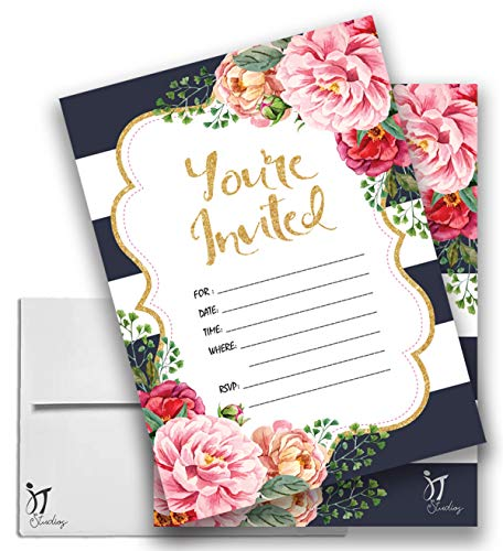 25 Floral You're Invited Party Invitations 5x7 Double-Sided Card Stock with Envelopes
