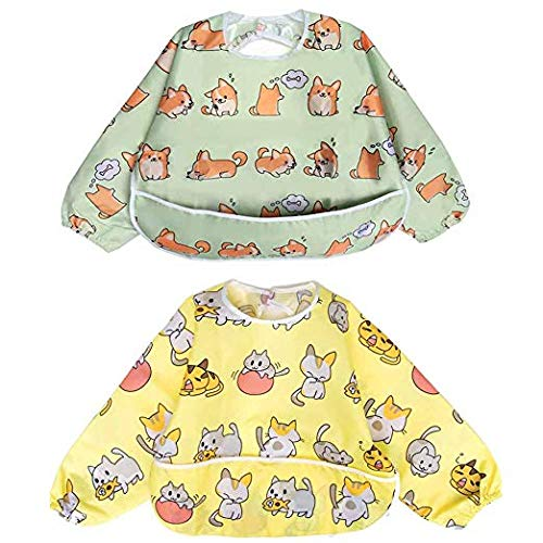 Long Sleeved Baby Feeding Bibs With Pocket Sleeves Cover Waterproof Messy Eater Full Bibs For Infant Toddlers