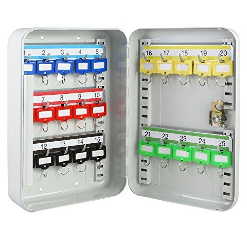 HMF 12525-07 Schlüsselkasten 25 Haken verstellbare Hakenleisten, 25,0 x 17,0 x 7,5 cm, lichtgrau