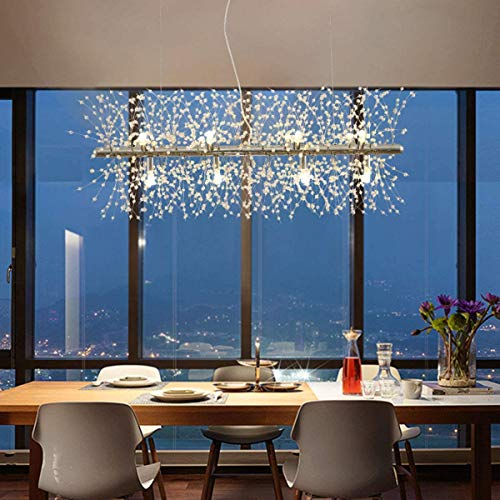 LukLoy - Lámpara de araña de diente de león de vidrio de acero inoxidable, 15.7'-31.5', Moderno, Long 28.3' x 15.7' (9LED), LED blanco cálid