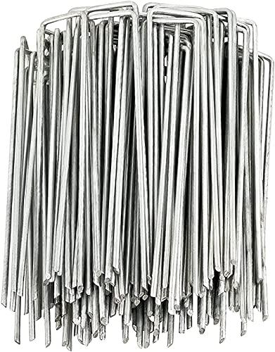 S-JIANG 50 Pack Bodenanker, U Förmige Erdanker Bodenanker, Heringe für Zelt, Erdnägel für Unkrautvlies Gartenvlies Zelt oder Netz, Erdanker 3mm Durchmesser 40x150mm