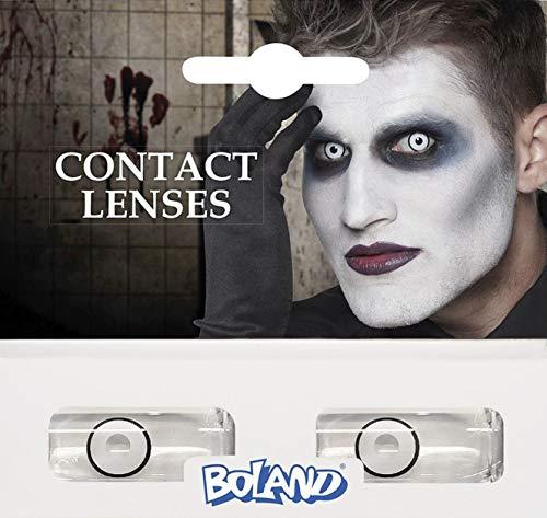 Boland Farbige Kontaktlinsen für 3 Monate, Maniac, weiß, Ohne Sehstärke, Monatslinsen, 2 Stück