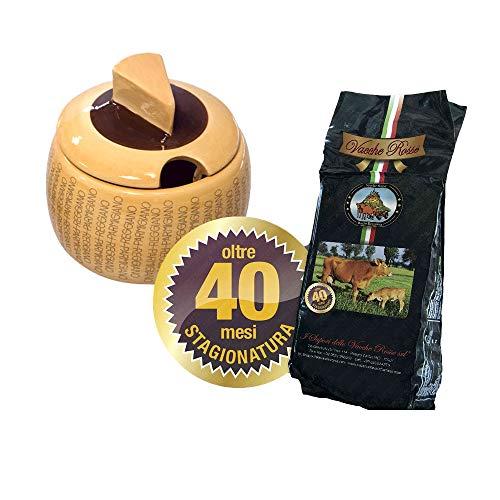 I Sapori delle Vacche Rosse - Parmigiano Reggiano Vacche Rosse 40 Monate RISERVA 1 Kg + Käsebehälter aus Keramik