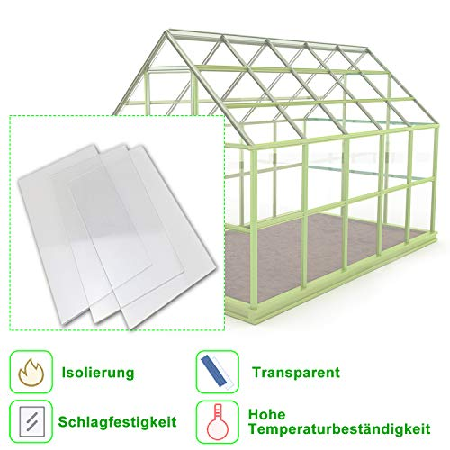 Froadp 6 Stück UV-beständigem Polycarbonat Universal Massive Platte 4800g/㎡ Gewächshausplatte für Garten Treibhaus(605x1210x4mm, Transparent)