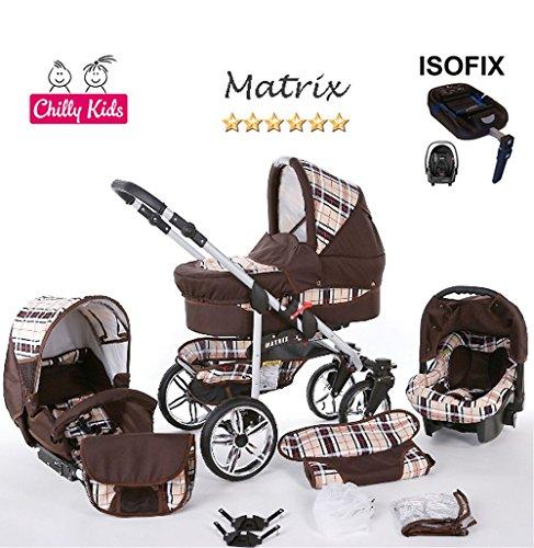 Chilly Kids Matrix 2 poussette combinée Set – hiver (chancelière, siège auto & ISOFIX, habillage pluie, moustiquaire, roues pivotantes) 49 marron & carreaux