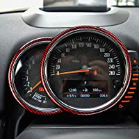 ミニクーパーカントリーマンF60アクセサリー用リアルカーボンファイバーカバートリムステッカータコメータースピードメーターインテリアトリムデコレーションデカール-レッド2個