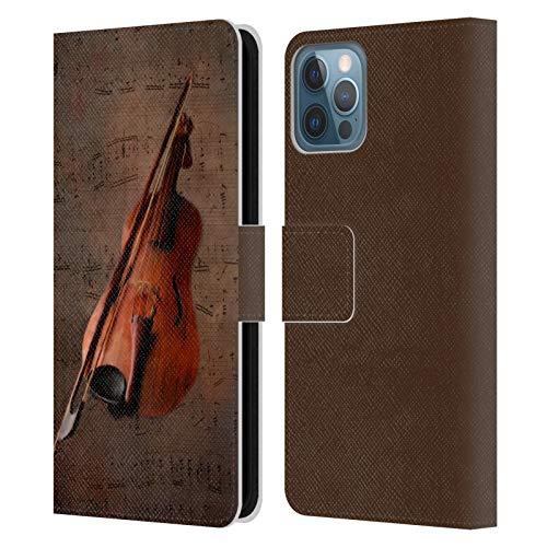 Head Case Designs Offizielle Simone Gatterwe Geige Vintage Und Steampunk Leder Brieftaschen Handyhülle Hülle Huelle kompatibel mit Apple iPhone 12 / iPhone 12 Pro