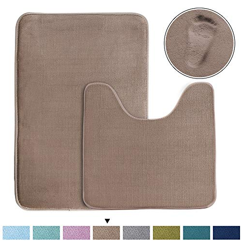 Super Soft Memory Foam Toilet Rug Set and Rectangle Bath mat Set, Quickly Dry Non-Slip Bathroom Rugs Set, Extra Absorbency (Taupe, Oversize 20' x 32' and Contour 20' x 20'),