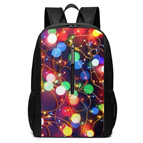 ZYWL Weihnachtsbeleuchtung Rucksack, Business Durable Laptop Rucksack, Wasserbeständige College School Computer Tasche Geschenke für Männer Frauen, 17in x 12in x 6in, schwarz
