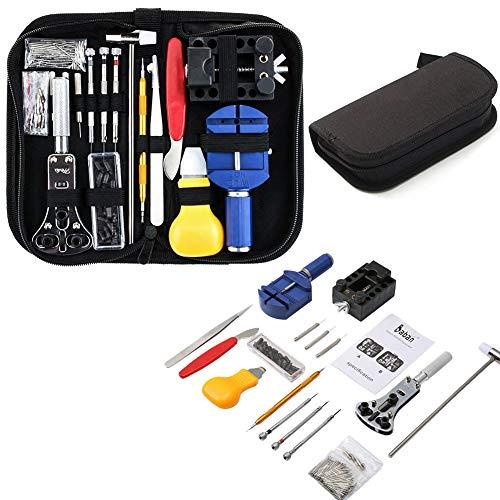 147pcs Kit de Réparation de Montres, Professionnel D'outils de Barre de Ressort Montre Bande Lien épingle Outil Ensemble avec étui de Transpor