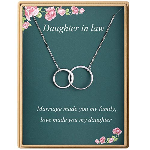 Dainty Infinity Interlocking Double Circles Necklace S925 Sterling Silver Daughter in Law Necklace Birthday Gifts for Women Mother's Day Gifts