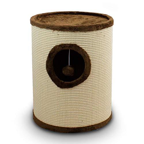 BITUXX® Sisaltonne Kratztonne Katzentonne Katzenbaum Katzenhöhle Kratzbaum mit Plüsch und Sisal … (50cm, Braun)