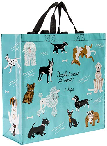 Blue Q People to Meet Dogs Shopper, Reusable Grocery Bag, Sturdy, Easy-to-Clean, 15
