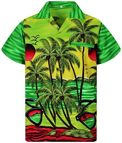 Funky Camisa Hawaiana, Manga Corta, Sunglasses, Verde, XL