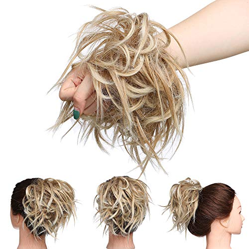 Extension per Chignon Capelli Finti con Elastico Ciambella per Chignon Grande Messy Hair Bun Updo Posticci per Crocchia–Marrone Sabbioso a Biondo Sbiancante