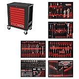 KS Tools 815.6271 PERFORMANCEplus Werkstattwagen P15, bestückt mit 271 Werkzeugen in 6 Einlagen für 6 Schubladen