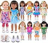 ebuddy 10 set di vestiti e 2 paia di scarpe per bambole da 14 a 14,5 pollici come Wellie Wishers Doll