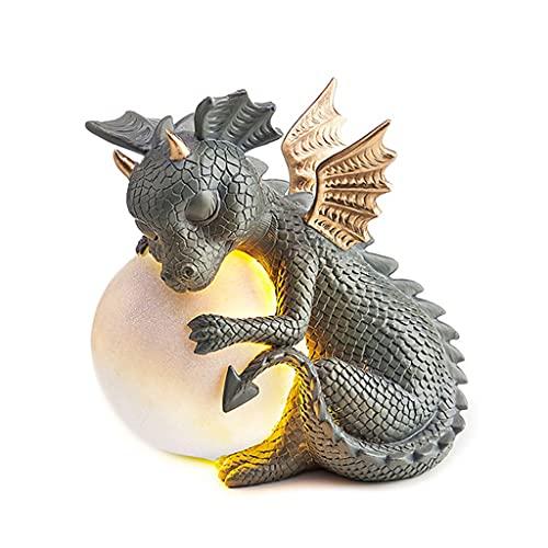 Xuebai Kreative Heimtextilien Harz Dinosaurier Solar Gartenlampe Handwerk Drachen Statue Garten Statue A #