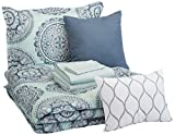 AmazonBasics 8-Piece Comforter Bedding Set, Twin / Twin XL, Sea Foam Medallion, Microfiber