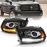 AmeriLite Jet Black Projector Headlights For 2009-2018 Dodge Ram 1500 2500 3500 Assembly w/LED Tube Switchback Turn Signal Set - Passenger and Driver Side