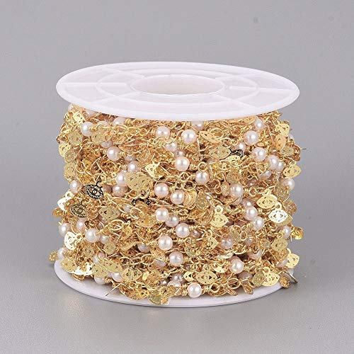 Airssory - Cadena de latón con cuentas de latón de 10 metros con cuentas de latón y perlas blancas imitadas de cristal para boho Sunglass correa para decoración de joyas, manualidades