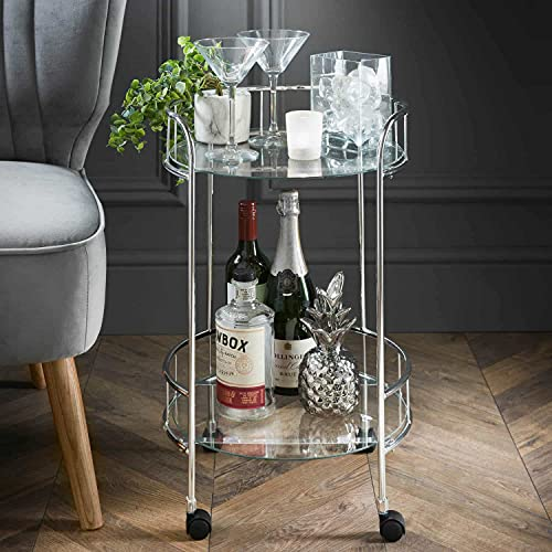 OTZ Drinks Food Serving Trolley Silver with Mirror Shelves 2 Tier