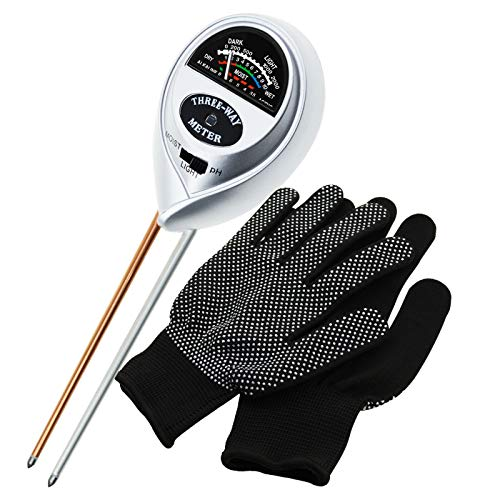 3-in-1 Soil pH Moisture Light Meter Tester Probe Sensor, Gardening Plants Growth Watering Quality Monitoring Acidity Test Tool Kits for Garden Farm Lawn Household (Silver PH/Moisture Meter + Gloves)
