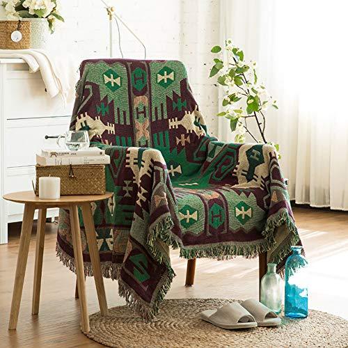 luofanfei Tagesdecke Sofa Sofadecke Grün Sofaüberwurf Baumwolle Wohndecke Wendedecke Kuscheldeck Couchdecke Bettdecke Grün Geometrisches Muster Überwurf für Bett mit Fransen 90x210 cm