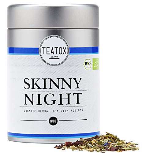 Teatox SKINNY NIGHT | Bio Kräutertee mit Rooibos | entspannende Mischung für den Abend | koffeinfrei mit feinsten Bio-Zutaten | harmonisch & wohlschmeckend | 100% biologisch, lose Blätter (Dose)