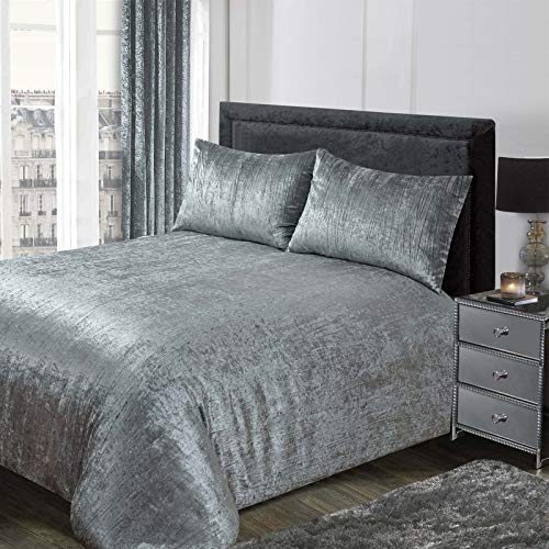 Sienna Crinkle Full Crushed Velvet Duvet Cover with Pillowcase Valencia Bedding Set, 100% Polyester, Silver Grey, Double